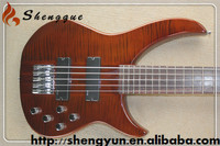 W Shengque Custom Mahogany Neck Flamed Maple Top Electric Bass Guitar