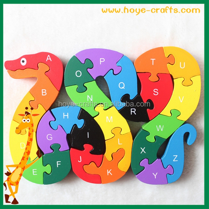 educational kids toy snake shaped wooden puzzle
