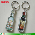 Manufactory customized clear acrylic bottle shape keychain for promotion gift