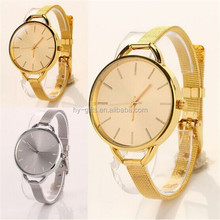 gold sliver big face new design mesh watch fashion women lady watch