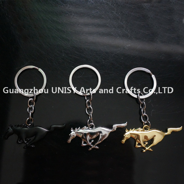 Wholesale promotional cheap Horse shape car logo keychains /Metal key chains for the car brand keychains