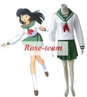 Fantasia Anime Lolita-Hot Sale InuYasha Higurashi Kagome Winter School Salor Uniform Anime Cosplay Costume C0035