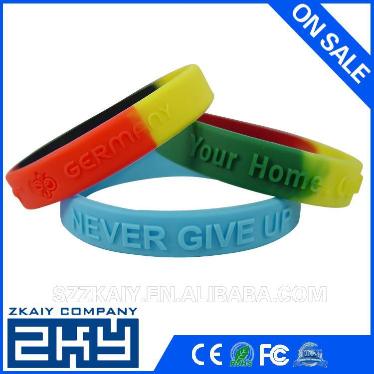 ZKY-0525 custom texts & logo silicone wristbands for promotion gifts solid color silicone barcelet with colorful text