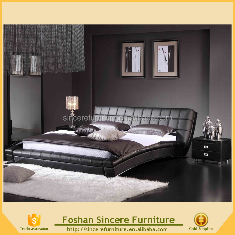 High quality bed design furniture leather curved bed
