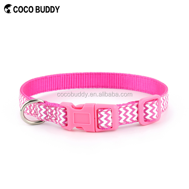 COCO Custom Nylon Sublimation Webbing Dog Collar With Plastic buckle Wholesale