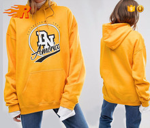 2017 Women Orange Pullover Cotton French Terry Oversized Hoodie With Custom Logo