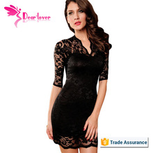Mix Colors Ladies Mini Lace Dress Half Sleeves Black Sexy Clubwear