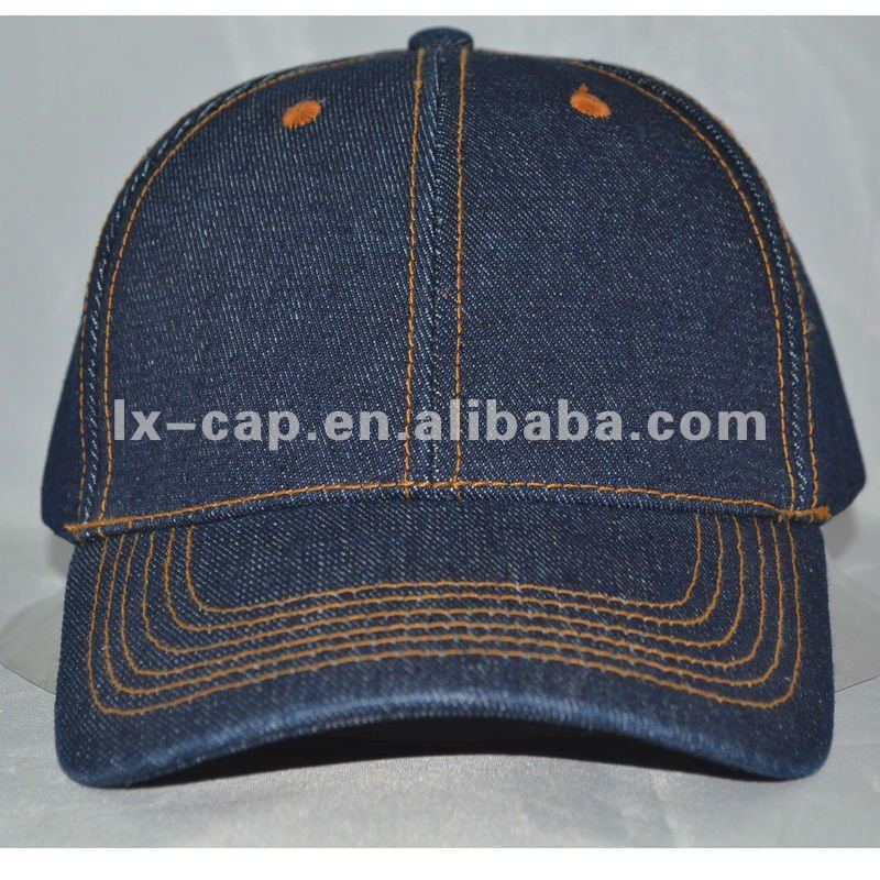 Navy cotton Jeans Promotional custom plain baseball cap and hat