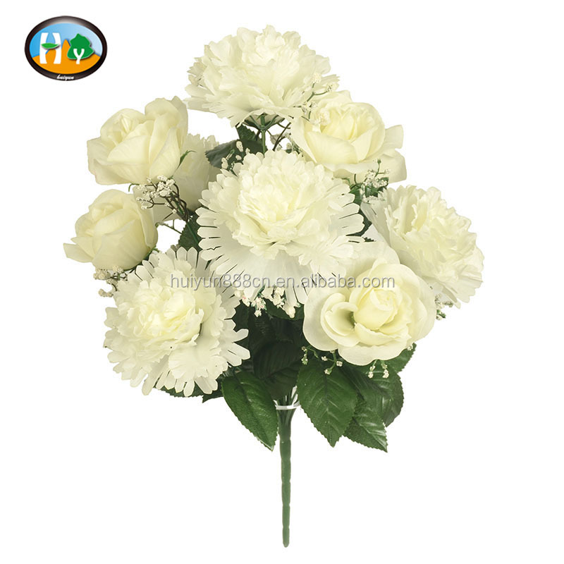 Factory handmade white color artificial flower for funeral decoration