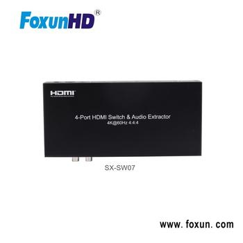 Foxun 4x1 HDMI 2.0 switch 18Gbps 4k@60hz HDR10 3D HDCP2.2 ARC CEC Support output with audio extraction,RCA 2.0 SPDIF 5.1