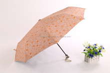 Honsen Wholesale Curve Handle Black Folding Umbrella For Promotional