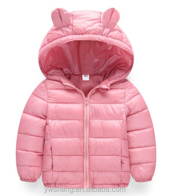 Winter solid color pink jacket children clothing for wholesale