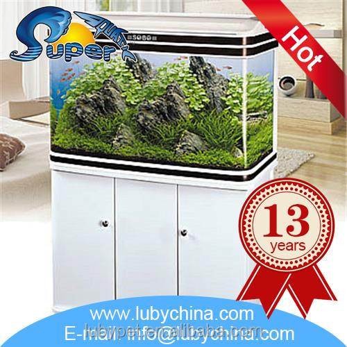 White aquarium fish tank with built-in filter and led light