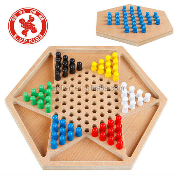 Wooden Hexagon Draughts Hexagon Checkers Flying Chess Games