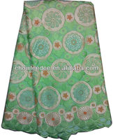 CL8112-8 African voilet cotton lace with heavy embroidery and stones