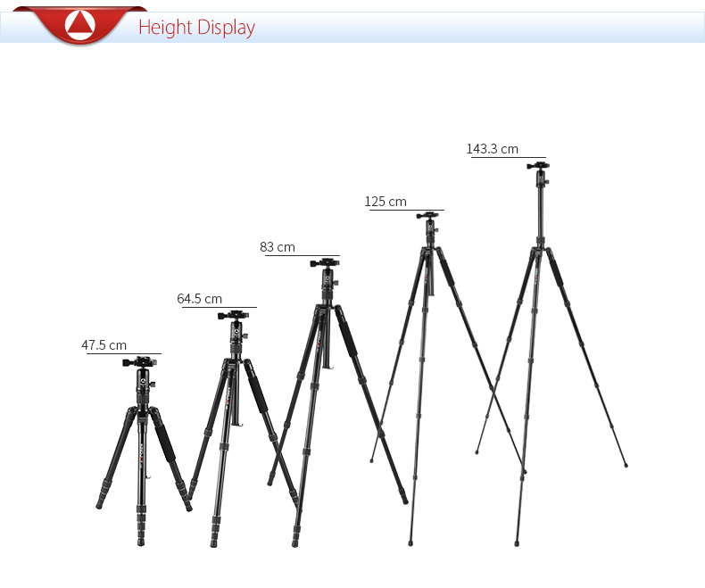 OEM 5 section aluminum lightweight dslr foto tripod for camera