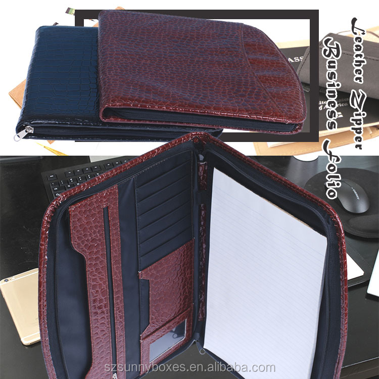 A4 Classic Crocodile Pattern PU Leather Functional Zipper Folder Bag Folio