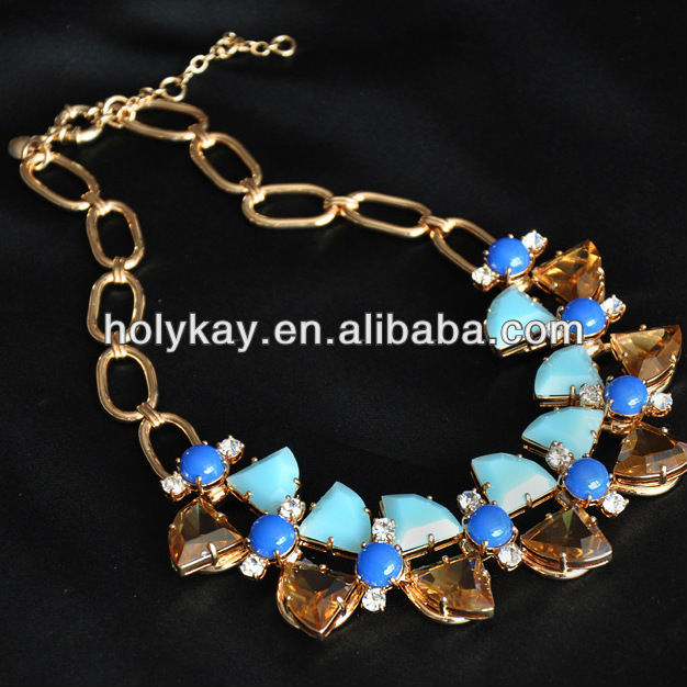 Acrylic propeller necklace,Inlaid gold alloy necklace,Jelly fashion necklace jewelry
