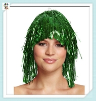 Cheap Carnival Party Unisex Short Green Tinsel Wigs HPC-1215