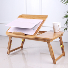 Folding adjustable bamboo laptop table
