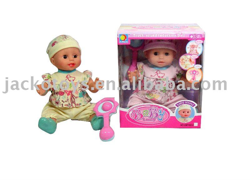 "14 ""induction sonic head start moving doll (3) with rattles"