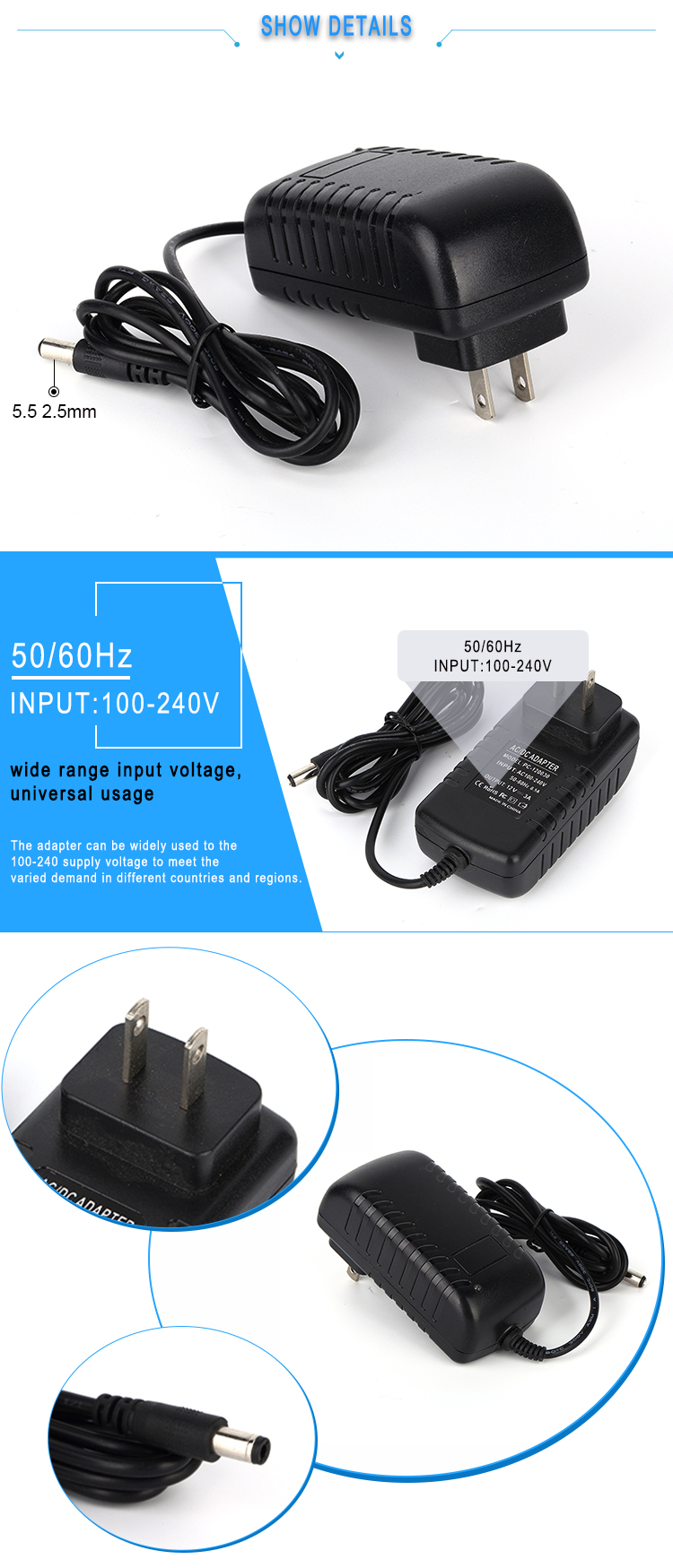 48Vdc ac power adapter 0.52a 520mA ac adapter for office telephone equipment