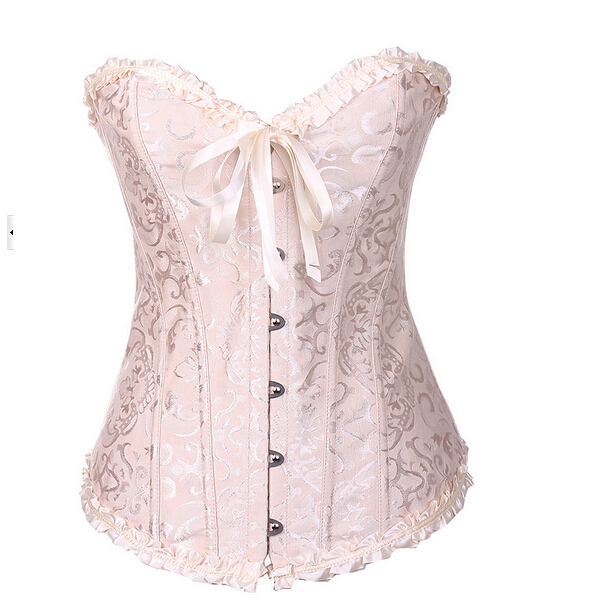 2015 corpete Sexy Lace Waist Training Corsets Palace Embossed Pattern Embroidery Corsets and Bustiers Wedding Women Corselet Top
