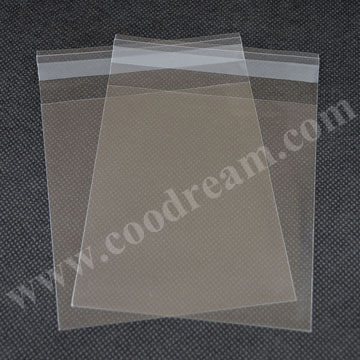2016 wholesale promotional clear self adhesive stick packing plastic opp poly bag