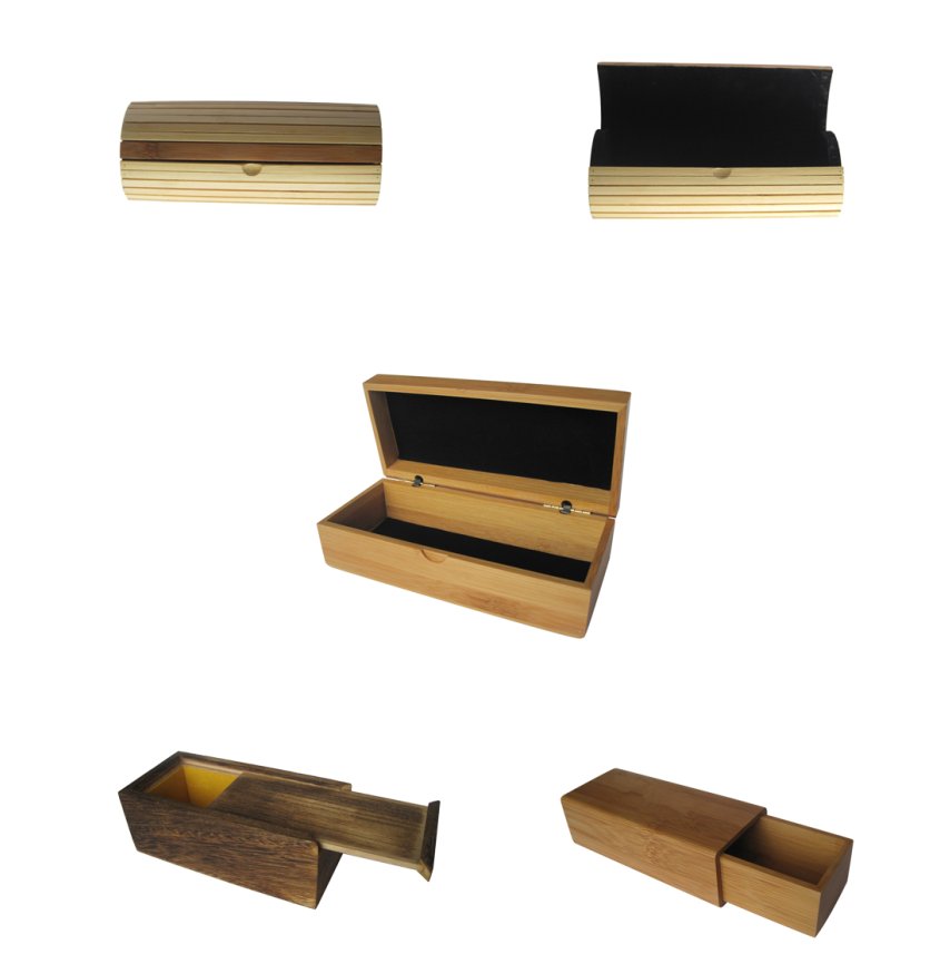 Promotion China professional custom carve logo variety styles of wooden sunglasses case