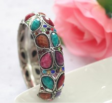 Bangle, Fashion Women Alloy Hinge Crystal Bangle, Bangle Bracelet Resin Bead Jewelry Wholesale PT1552