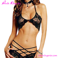 New Fashion Black Lace Halter See Through Hot Sexy Bra and Panty Set