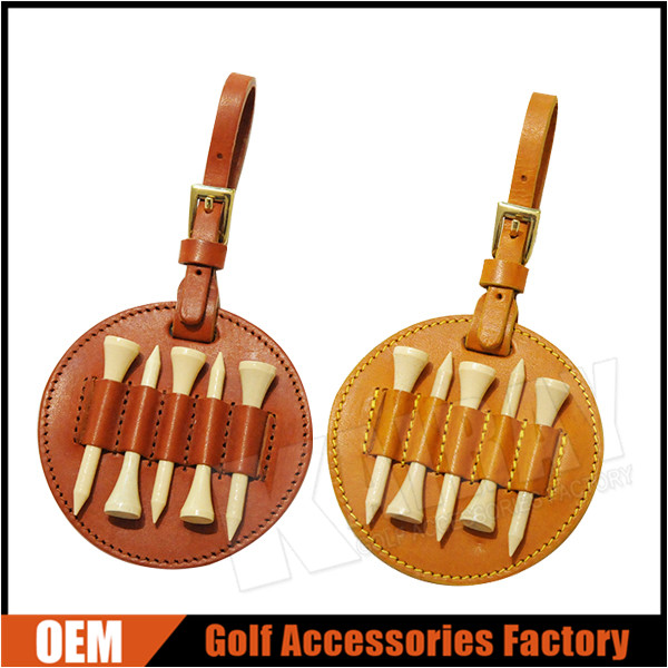Custom Made Luxury Leather Golf Tee Holder With Wooden Tees