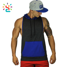 Two tone gym stringer singlet Mens Hipster Hip Hop Hooded Tank top Drawstring Hoodie Pocket
