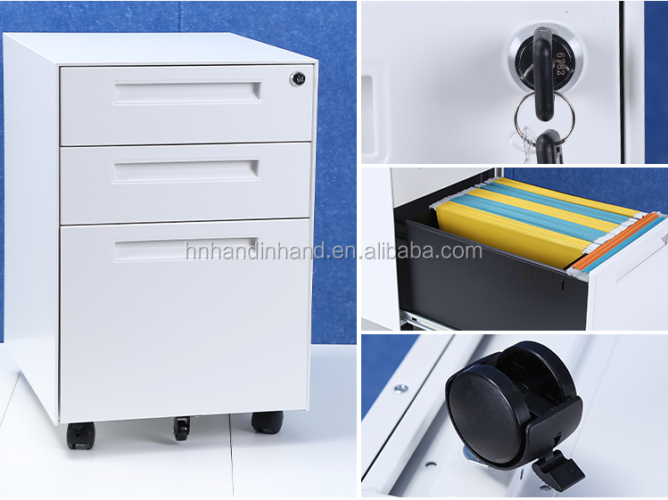 High quality 3 drawer mobile pedestal cabinet/movable file cabinet under desk metal mobile pedestal