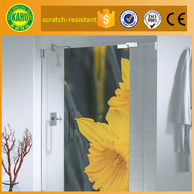 12mm soundproof tempered glass shower wall panels for shower door made from digital printing on glass