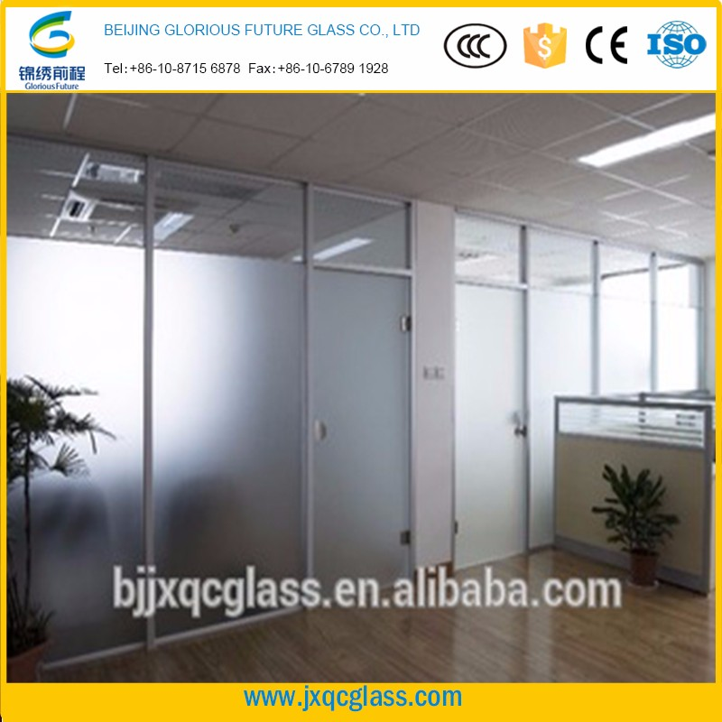translucent 15+15mm safety single panel frosted laminated glass partition