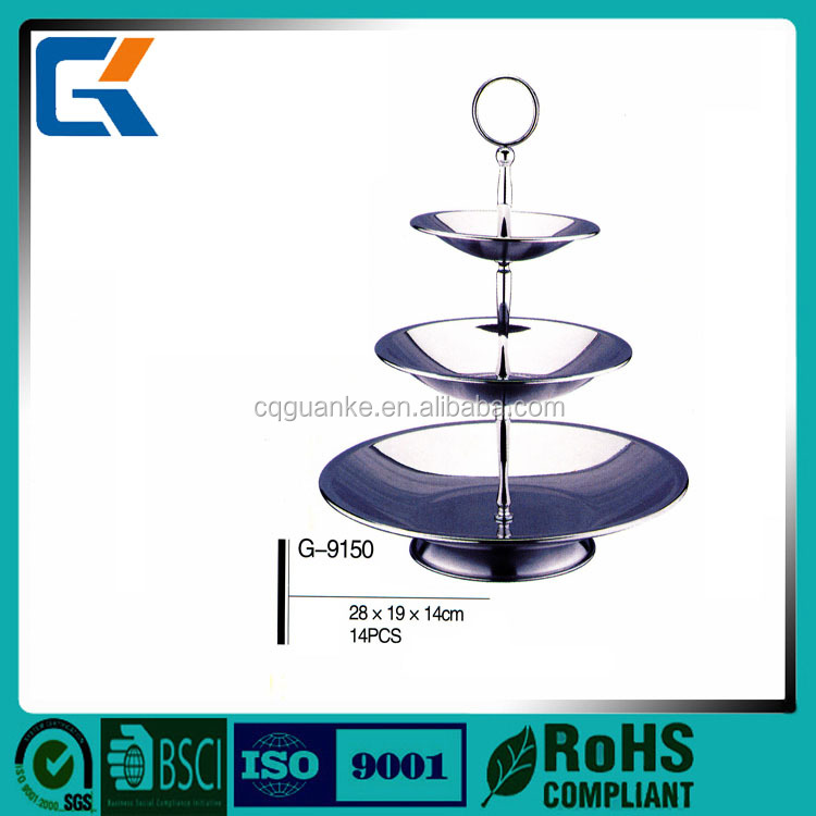 Fashion big capacity useing wine bar 3 tiers stainless steel fruit tray