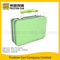 Mini Suit Case Metal Tin Box with Plastic Handle