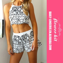 Simple Printed Women Sexy 2 Pieces Romper Jumpsuit Wholesale 2017
