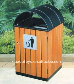 City Outdoor Wooden Trash Can