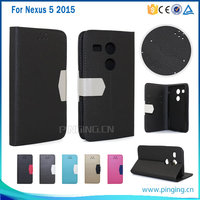 Frosted sand grain pu magnetic pu leather flip cover case for LG Nexus 5 2015