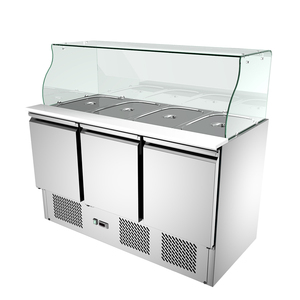New Style Commercial Refrigerated Salad Work Table SS304 Salad Prep Station with Glass Cover