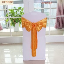 hot sale stain chair sash/self-tie wedding chair sash organza colour
