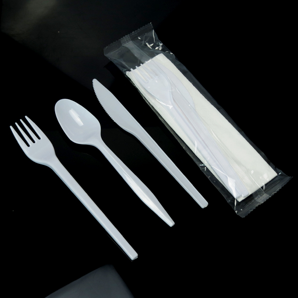 Food grade PS plastic disposable cutlery with individual wrapped bag