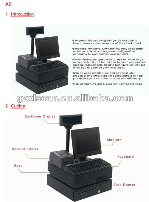 electronic cash register machine/ all in one pos pc/ POS cash NT-A5