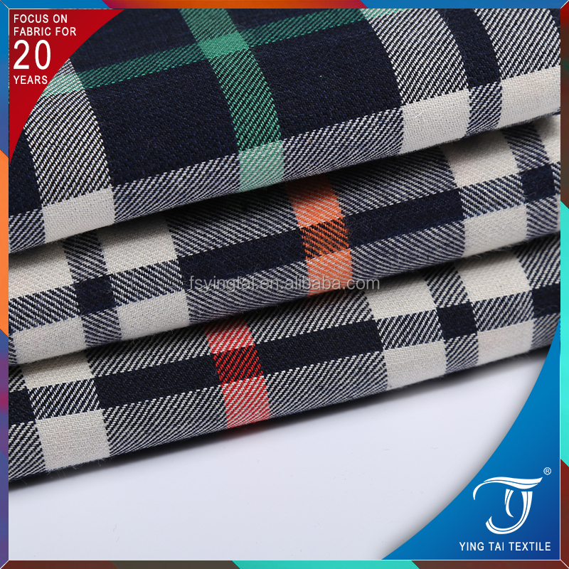Comfortable cotton check shirting fabric 100% cotton brushed fabric for winter clothes