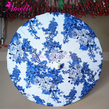 Intangible cultural Heritage Chinese Style Cotton Fabric Floral Painted Craft Umbrella