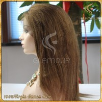 High quality Peruvian human hair wig real factory price kinky straight lace front wig
