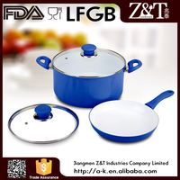 Canton Fair colorful ceramic pot and fry pan set blue