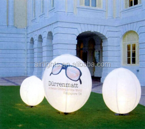 colour changing ground balloon, high quality inflatable led light ballons, lighting deocration